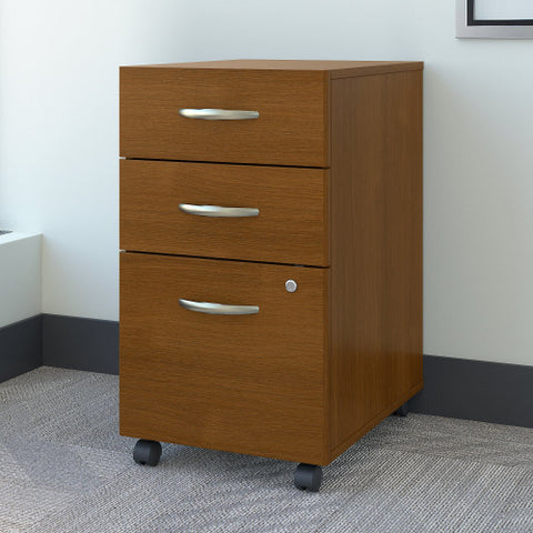 Bush Series C 3 Drawer Mobile Pedestal - Assembled, Warm Oak WC67553SU ; UPC: 042976675516 ; Image 2