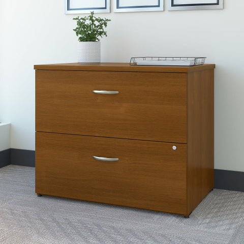 Bush Series C 36W 2 Drawer Lateral File - Assembled, Warm Oak WC67554CSU ; UPC: 042976675554 ; Image 2