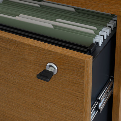 Bush Series C 36W 2 Drawer Lateral File - Assembled, Warm Oak WC67554CSU ; UPC: 042976675554 ; Image 3