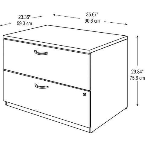 Bush Series C 36W 2 Drawer Lateral File - Assembled, Warm Oak WC67554CSU ; UPC: 042976675554 ; Image 4