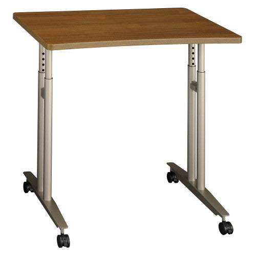 Bush Series C Adjustable Height Mobile Table, Warm Oak WC67582 ; UPC: 042976675820 ; Image 1