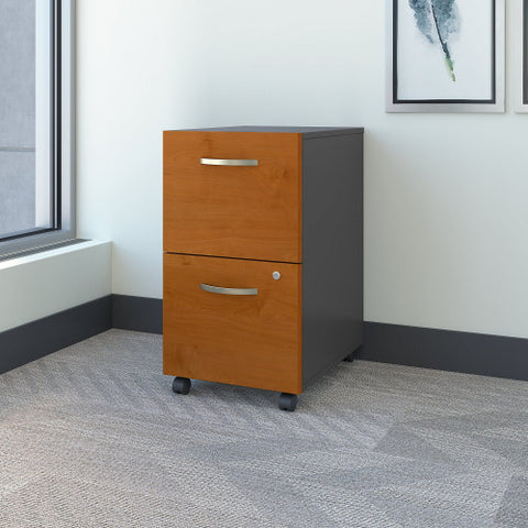 Bush Series C 2 Drawer Mobile Pedestal - Assembled, Natural Cherry WC72452SU ; UPC: 042976254278 ; Image 2