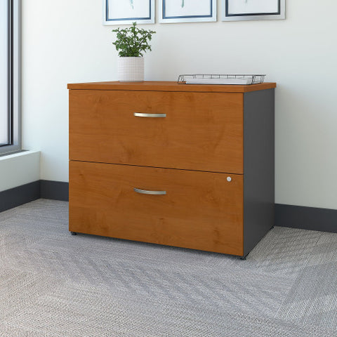 Bush Series C 36W 2 Drawer Lateral File - Assembled, Natural Cherry WC72454CSU ; UPC: 042976724948 ; Image 2
