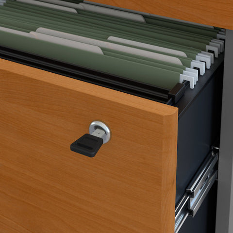 Bush Series C 36W 2 Drawer Lateral File - Assembled, Natural Cherry WC72454CSU ; UPC: 042976724948 ; Image 3