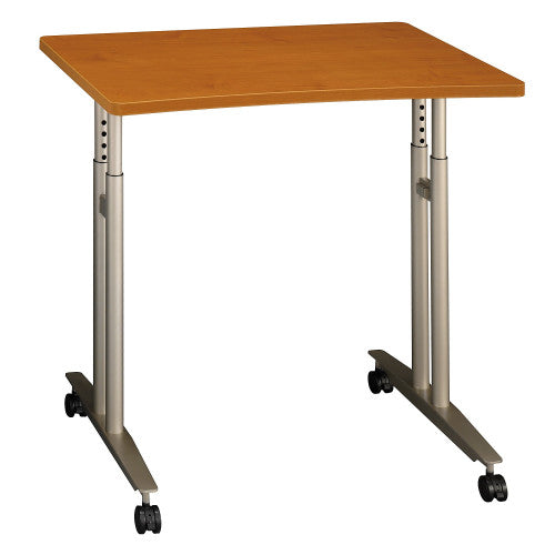 Bush Series C Adjustable Height Mobile Table, Natural Cherry WC72482 ; UPC: 042976724825 ; Image 1