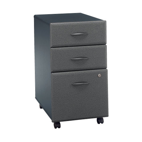 Bush Series A 3 Drawer Mobile Pedestal - Assembled, Slate WC84853PSU ; UPC: 042976848934 ; Image 1