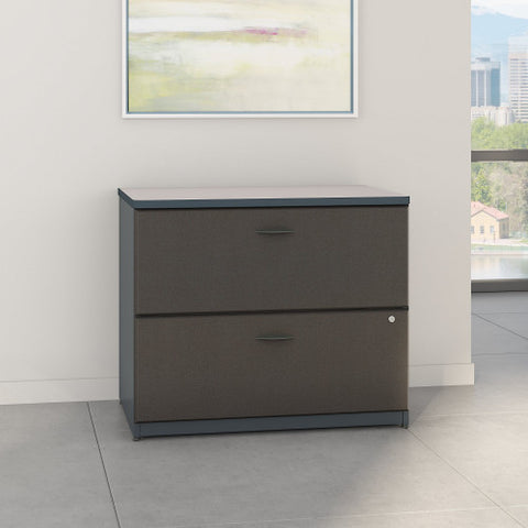 Bush Series A 36W 2-Drawer Lateral File - Assembled, Slate WC84854PSU ; UPC: 042976848941 ; Image 2