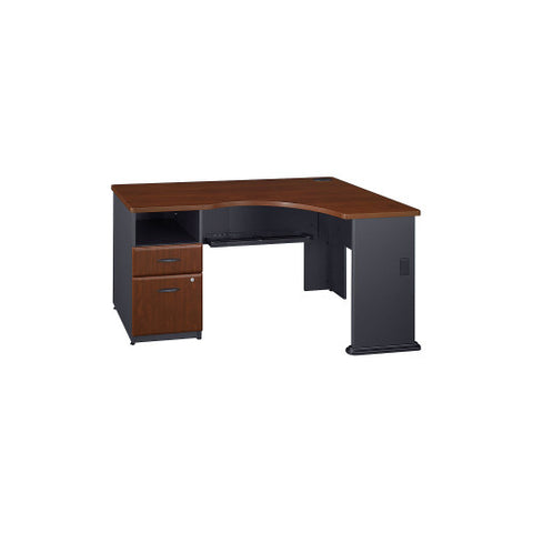 Bush Series A Single 2 Drawer Pedestal Corner Desk, Hansen Cherry WC94428PA ; UPC: 042976089955 ; Image 1