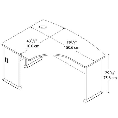 Bush Series A 60W x 44D Left Hand L-Bow Desk, Hansen Cherry WC94433 ; UPC: 042976944339 ; Image 4