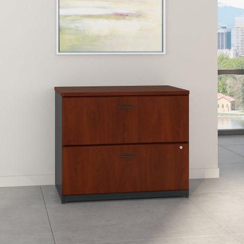Bush Series A 36W 2-Drawer Lateral File - Assembled, Hansen Cherry WC94454PSU ; UPC: 042976944940 ; Image 2