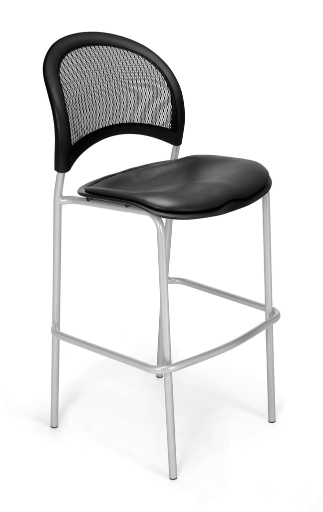 OFM 338S-VAM-604 Moon Cafe Height Vinyl Silver Chair, Charcoal ; UPC: 845123021705 ; Image 1