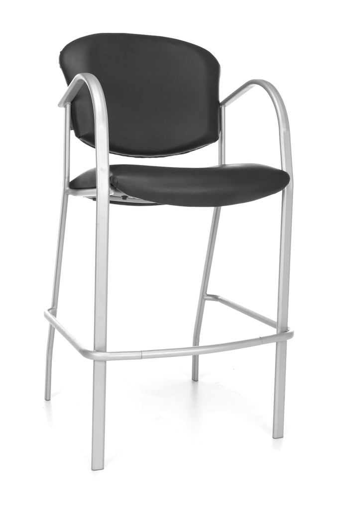 OFM Danbelle Series Model 414C-VAM Antimicrobial Vinyl Contract Reception Cafe Height Chair, Black ; UPC: 845123040652 ; Image 1