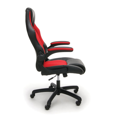 OFM Essentials Collection High-Back Racing Style Bonded Leather Gaming Chair, in Red (ESS-3086-RED) ; UPC: 845123090640 ; Image 4