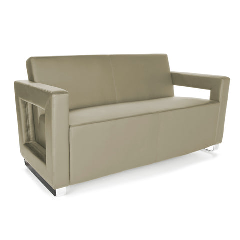 OFM Distinct Series Model 832 Soft Seating Lounge Sofa, Polyurethane, Taupe with Chrome Base ; UPC: 845123034378 ; Image 1