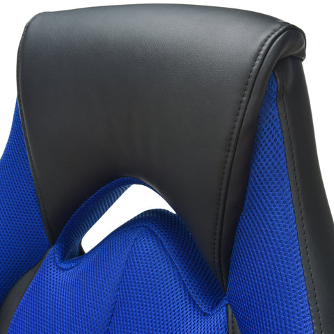 OFM Essentials Collection High-Back Racing Style Bonded Leather Gaming Chair, in Blue (ESS-3086-BLU) ; UPC: 845123090633 ; Image 7