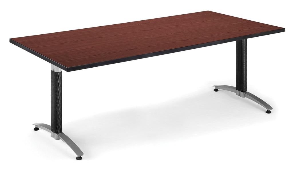 "OFM Model T3672MB 36"" x 72"" Conference Table with Metal Mesh Base, Mahogany ; UPC: 845123020906 ; Image 1"