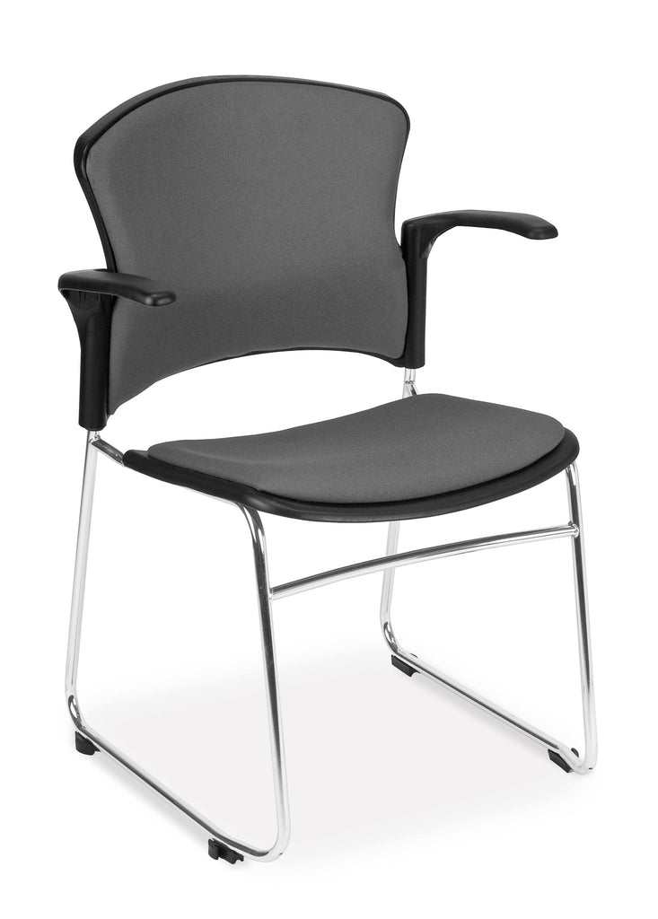 OFM Model 310-FA Multi-Use Stack Chair with Arms, Fabric Seat and Back, Gray ; UPC: 845123004081 ; Image 1