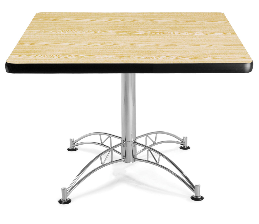 "OFM Model LT42SQ 42"" Multi-Purpose Square Table with Chrome-Plated Steel Base, Oak ; UPC: 811588017638 ; Image 1"