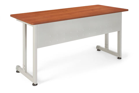 "OFM Model 55142 24"" x 55"" Modular Utility and Training Table, Cherry with Silver Frame ; UPC: 845123005729 ; Image 1"