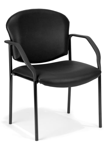 OFM Manor Series Guest and Reception Chair with Arms, Anti-Microbial/Anti-Bacterial Vinyl, in Black (404-VAM-606) ; UPC: 811588014088 ; Image 1