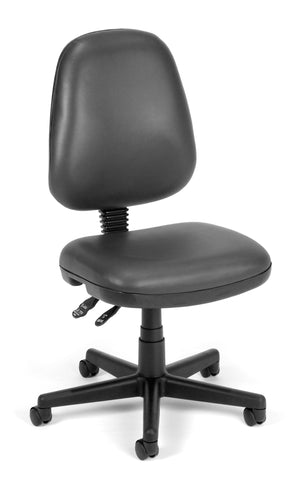 OFM Straton Series Model 119-VAM Armless Swivel Task Chair, Anti-Microbial/Anti-Bacterial Vinyl, Mid Back, Charcoal ; UPC: 811588012640 ; Image 1