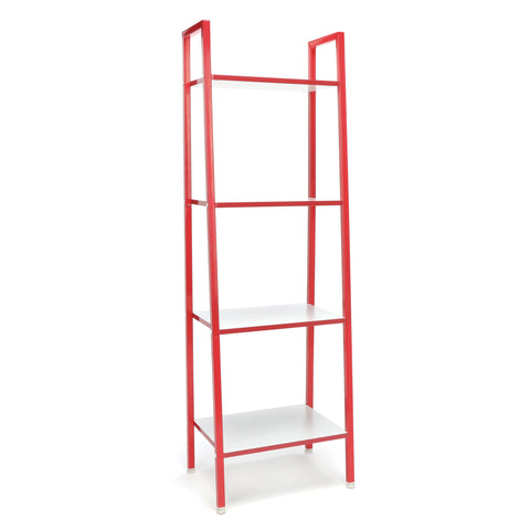 Essentials by OFM ESS-1045 4-Shelf Free Standing Ladder Bookshelf, White with Red Frame ; UPC: 845123095607 ; Image 1
