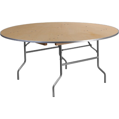 Flash Furniture 66'' Round HEAVY DUTY Birchwood Folding Banquet Table with METAL Edges XA66BIRCHMGG ; Image 1 ; UPC 889142084471