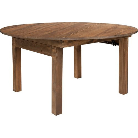 Flash Furniture HERCULES Series Round Dining Table | Farm Inspired, Rustic & Antique Pine Dining Room Table XAF60RDGG ; Image 1 ; UPC 889142861904