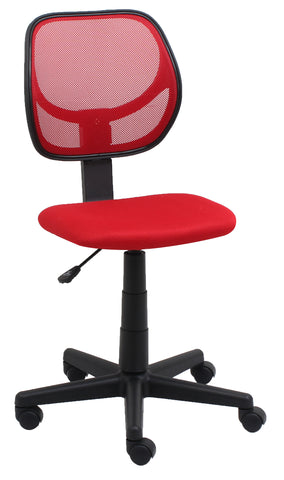 Essentials by OFM E1009 Armless Mesh Back and Fabric Task Chair, Red ; UPC: 845123088449 ; Image 1