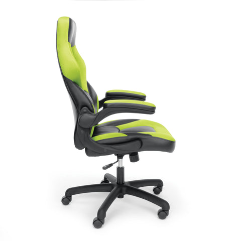 OFM Essentials Collection Racing Style Bonded Leather Gaming Chair, in Green (ESS-3085-GRN) ; UPC: 845123089293 ; Image 4
