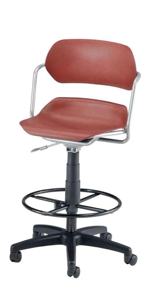OFM 200-DK-SLVR-WNE Martisa Series Plastic Task Stool with Drafting Kit ; UPC: 845123012024 ; Image 1