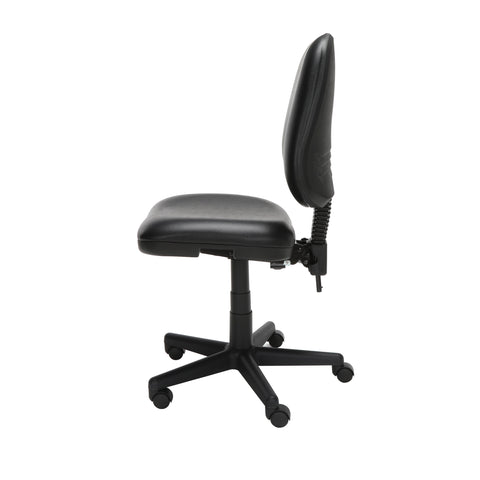 OFM Straton Series Armless Swivel Task Chair, Anti-Microbial/Anti-Bacterial Vinyl, Mid Back, in Black (119-VAM-606) ; UPC: 811588012664 ; Image 5