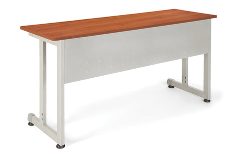"OFM Model 55141 20"" x 55"" Modular Utility and Training Table, Cherry with Silver Frame ; UPC: 811588017003 ; Image 1"