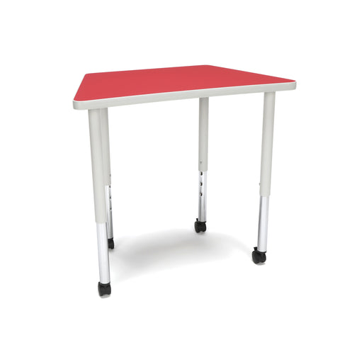OFM Adapt Series Trapezoid Standard Table - 25-33? Height Adjustable Desk with Casters, Red (TRAP-LLC) ; UPC: 845123096727 ; Image 1