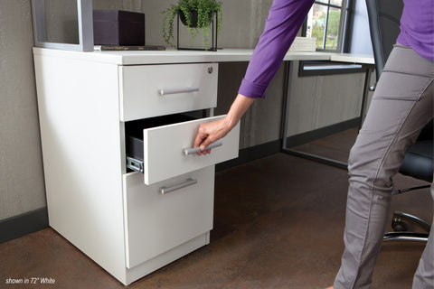 OFM Fulcrum Series Locking Pedestal, 3-Drawer Filing Cabinet, White (CL-BBF-WHT) ; UPC: 845123097434 ; Image 8