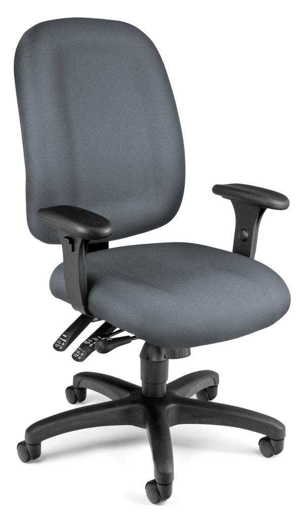 OFM Model 125 Ergonomic Task Chair with Arms, Fabric, Mid Back, Gray ; UPC: 811588012725 ; Image 1
