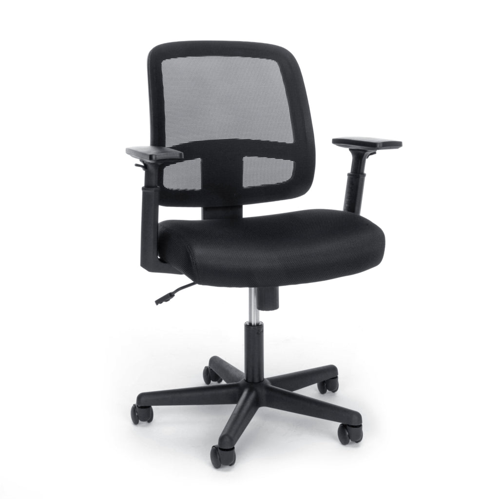 OFM Essentials Collection Mesh Back Chair with Adjustable Arms, Black (E3035) ; UPC: 845123089248 ; Image 1