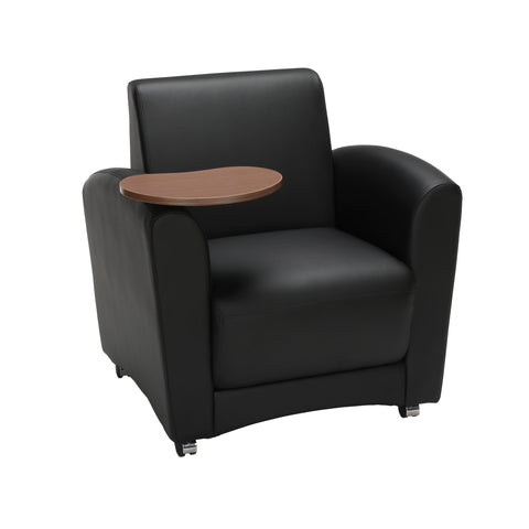 OFM InterPlay Series Single Seat Chair with Bronze Tablet, in Black (821-PU606-BRONZ) ; UPC: 845123031018 ; Image 1