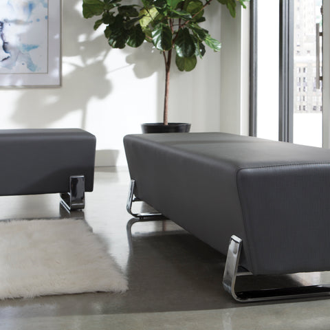 OFM Axis Series Contemporary Triple Seating Bench, Textured Vinyl with Chrome Base, in Slate (4003C-SLT) ; UPC: 845123089033 ; Image 12