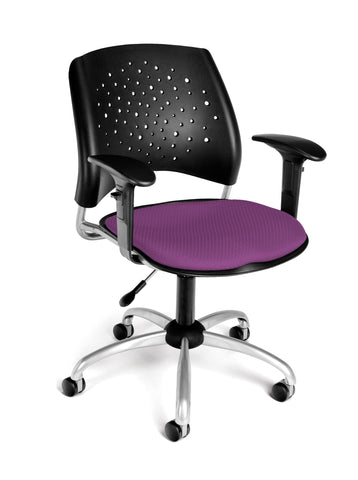 OFM Stars Swivel Chair with Arms, Plum ; UPC: 845123013175 ; Image 1