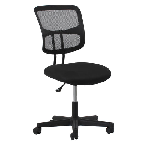 Essentials by OFM ESS-3020 Swivel Mesh Back Armless Task Chair, Black ; UPC: 089191013518 ; Image 1