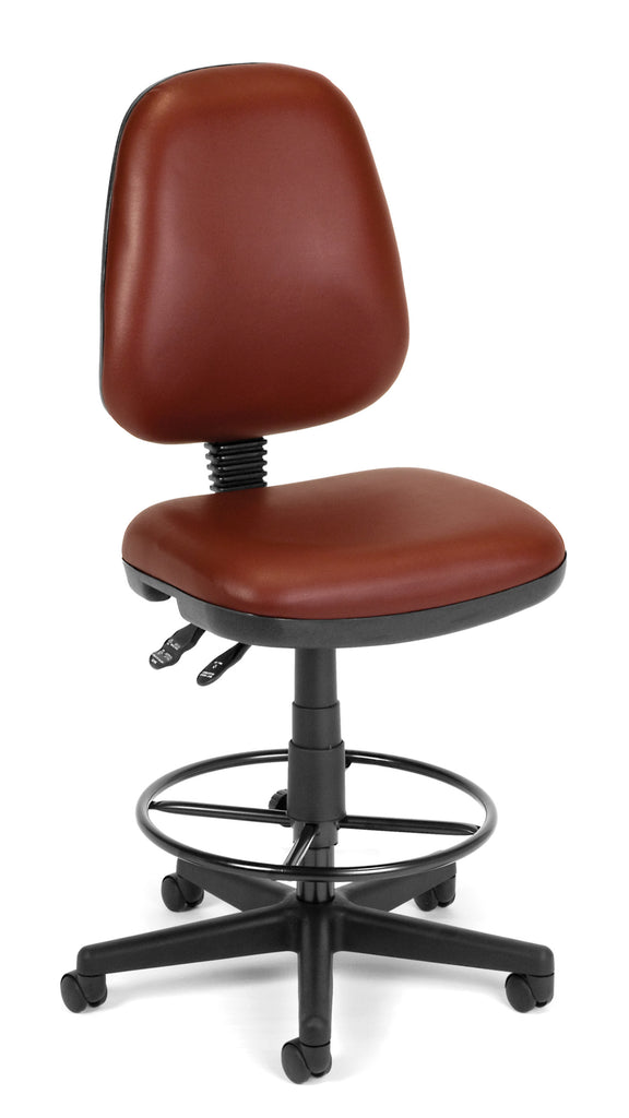 OFM Straton Series Model 119-VAM-DK Armless Swivel Task Chair with Drafting Kit, Anti-Microbial Vinyl, Wine ; UPC: 845123011539 ; Image 1