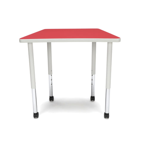 OFM Adapt Series Trapezoid Standard Table - 25-33? Height Adjustable Desk with Casters, Red (TRAP-LLC) ; UPC: 845123096727 ; Image 2