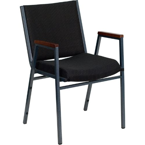 Flash Furniture HERCULES Series Heavy Duty Black Dot Fabric Stack Chair with Arms XU60154BKGG ; Image 1 ; UPC 812581018806