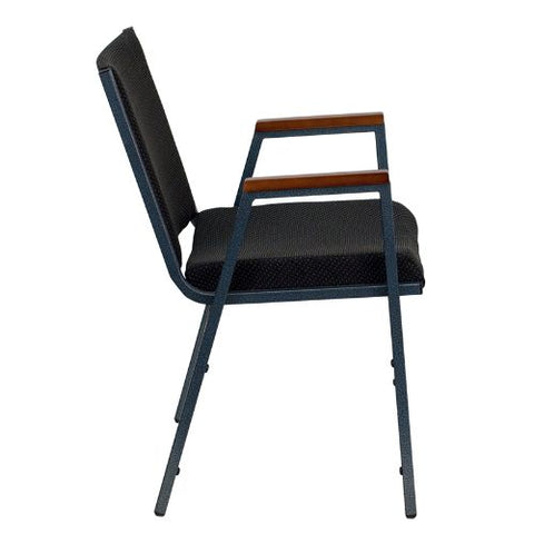 Flash Furniture HERCULES Series Heavy Duty Black Dot Fabric Stack Chair with Arms XU60154BKGG ; Image 2 ; UPC 812581018806
