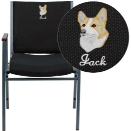 Flash Furniture Embroidered HERCULES Series Heavy Duty Black Vinyl Stack Chair with Arms XU60154BKVYLEMBGG ; Image 1 ; UPC 847254050340