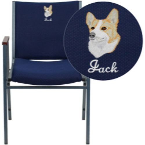 Flash Furniture Embroidered HERCULES Series Heavy Duty Navy Blue Dot Fabric Stack Chair with Arms XU60154NVYEMBGG ; Image 1 ; UPC 847254050401