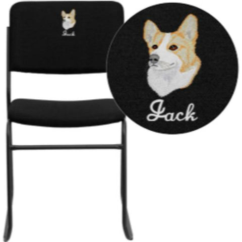 Flash Furniture Customizable embroidery hercules Series Steel Stack Chair (XU8700BLKB30EMBGG)