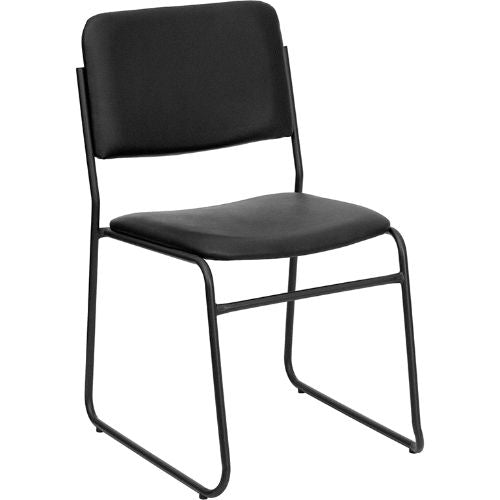 Flash Furniture HERCULES Series 1000 lb. Capacity High Density Black Vinyl Stacking Chair with Sled Base XU8700BLKBVYL30GG ; Image 1 ; UPC 847254007740