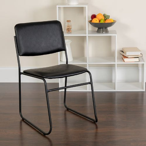 Flash Furniture HERCULES Series 1000 lb. Capacity High Density Black Vinyl Stacking Chair with Sled Base XU8700BLKBVYL30GG ; Image 2 ; UPC 847254007740